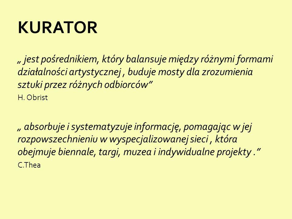 """KURATOR """" jest pośrednikiem, który balansuje między różnymi formami działalności artystycznej, buduje mosty dla zrozumienia sztuki przez różnych odbiorców H."""