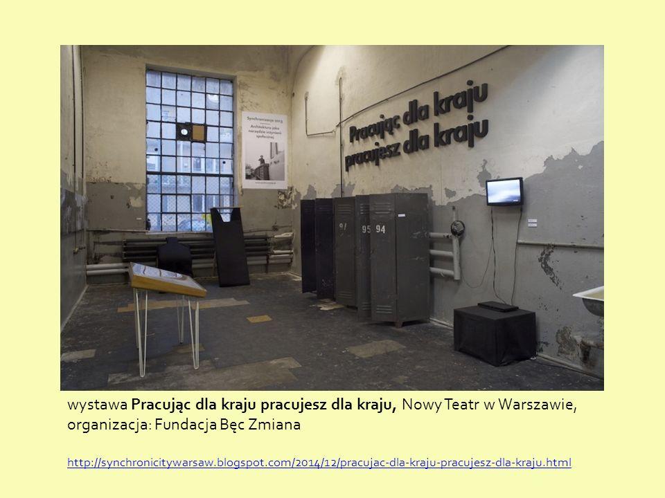 wystawa Pracując dla kraju pracujesz dla kraju, Nowy Teatr w Warszawie, organizacja: Fundacja Bęc Zmiana http://synchronicitywarsaw.blogspot.com/2014/12/pracujac-dla-kraju-pracujesz-dla-kraju.html