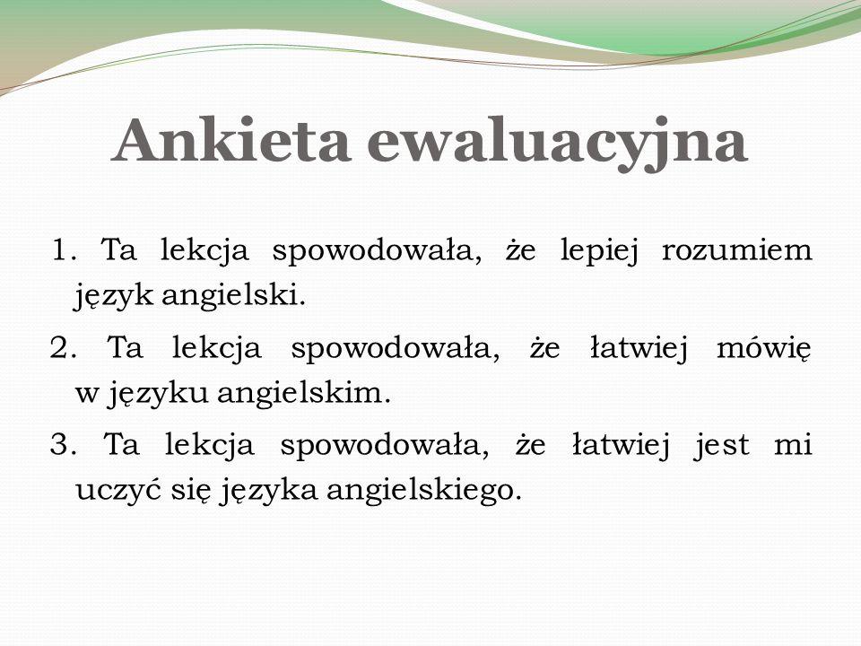 Ankieta ewaluacyjna 1. Ta lekcja spowodowała, że lepiej rozumiem język angielski.