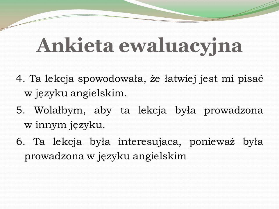 Ankieta ewaluacyjna 4. Ta lekcja spowodowała, że łatwiej jest mi pisać w języku angielskim.