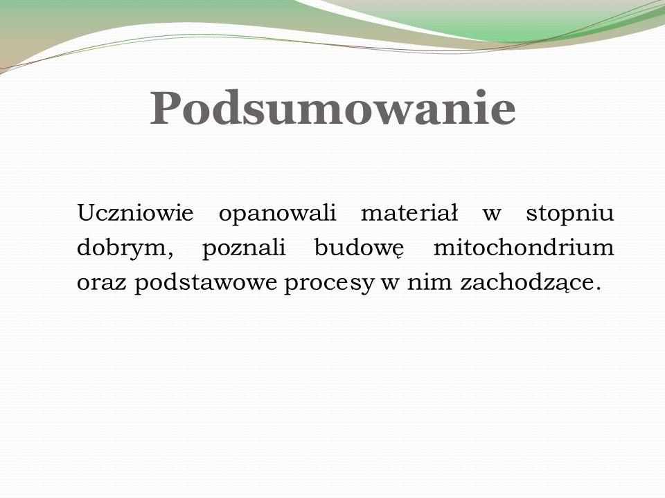 Podsumowanie Uczniowie opanowali materiał w stopniu dobrym, poznali budowę mitochondrium oraz podstawowe procesy w nim zachodzące.