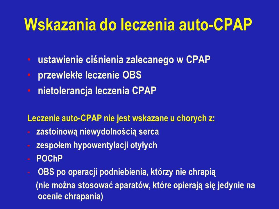 Wskazania do leczenia auto-CPAP ustawienie ciśnienia zalecanego w CPAP przewlekłe leczenie OBS nietolerancja leczenia CPAP Leczenie auto-CPAP nie jest wskazane u chorych z: - zastoinową niewydolnością serca - zespołem hypowentylacji otyłych - POChP - OBS po operacji podniebienia, którzy nie chrapią (nie można stosować aparatów, które opierają się jedynie na ocenie chrapania)