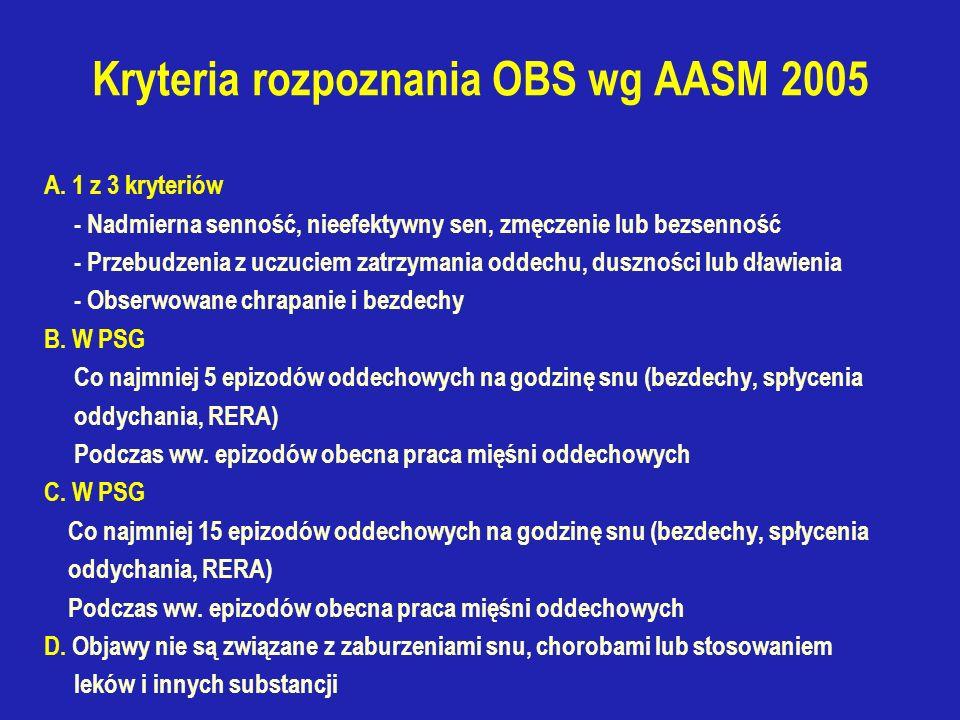 Kryteria rozpoznania OBS wg AASM 2005 A.