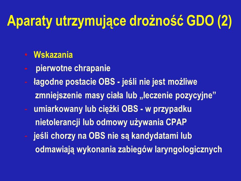 """Aparaty utrzymujące drożność GDO (2) Wskazania - pierwotne chrapanie - łagodne postacie OBS - jeśli nie jest możliwe zmniejszenie masy ciała lub """"leczenie pozycyjne - umiarkowany lub ciężki OBS - w przypadku nietolerancji lub odmowy używania CPAP - jeśli chorzy na OBS nie są kandydatami lub odmawiają wykonania zabiegów laryngologicznych"""