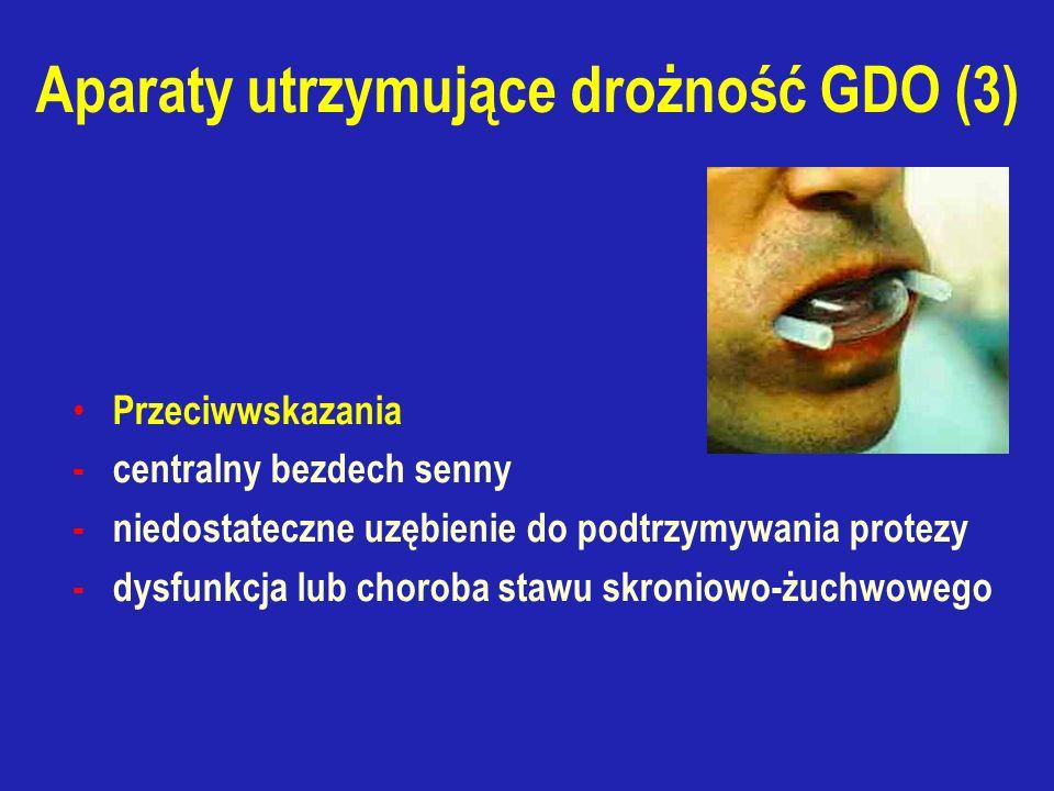 Aparaty utrzymujące drożność GDO (3) Przeciwwskazania - centralny bezdech senny - niedostateczne uzębienie do podtrzymywania protezy - dysfunkcja lub choroba stawu skroniowo-żuchwowego