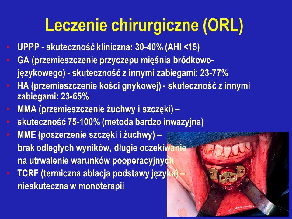 UPPP - skuteczność kliniczna: 30-40% (AHI <15) GA (przemieszczenie przyczepu mięśnia bródkowo- językowego) - skuteczność z innymi zabiegami: 23-77% HA (przemieszczenie kości gnykowej) - skuteczność z innymi zabiegami: 23-65% MMA (przemieszczenie żuchwy i szczęki) – skuteczność 75-100% (metoda bardzo inwazyjna) MME (poszerzenie szczęki i żuchwy) – brak odległych wyników, długie oczekiwanie na utrwalenie warunków pooperacyjnych TCRF (termiczna ablacja podstawy języka) – nieskuteczna w monoterapii
