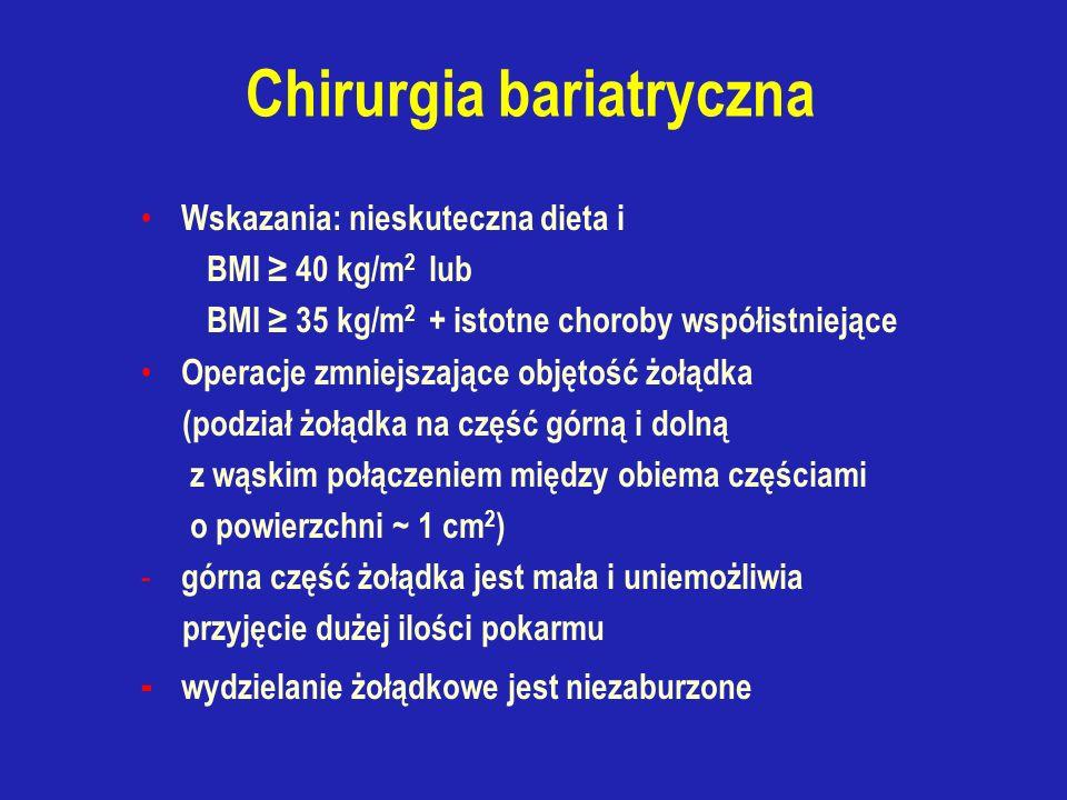Chirurgia bariatryczna Wskazania: nieskuteczna dieta i BMI ≥ 40 kg/m 2 lub BMI ≥ 35 kg/m 2 + istotne choroby współistniejące Operacje zmniejszające objętość żołądka (podział żołądka na część górną i dolną z wąskim połączeniem między obiema częściami o powierzchni ~ 1 cm 2 ) - górna część żołądka jest mała i uniemożliwia przyjęcie dużej ilości pokarmu - wydzielanie żołądkowe jest niezaburzone