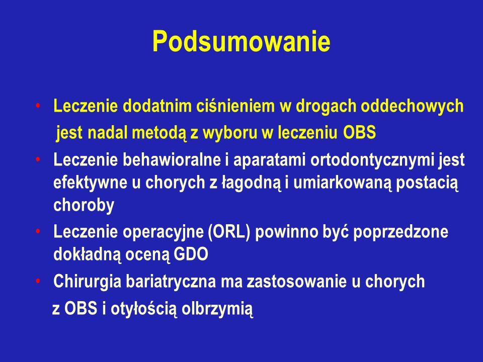 Podsumowanie Leczenie dodatnim ciśnieniem w drogach oddechowych jest nadal metodą z wyboru w leczeniu OBS Leczenie behawioralne i aparatami ortodontycznymi jest efektywne u chorych z łagodną i umiarkowaną postacią choroby Leczenie operacyjne (ORL) powinno być poprzedzone dokładną oceną GDO Chirurgia bariatryczna ma zastosowanie u chorych z OBS i otyłością olbrzymią