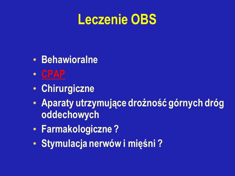Leczenie OBS Behawioralne CPAP Chirurgiczne Aparaty utrzymujące drożność górnych dróg oddechowych Farmakologiczne .