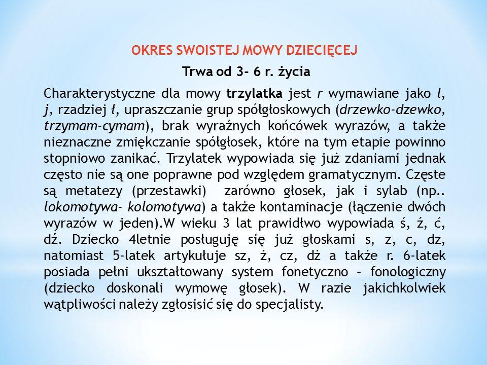 OKRES SWOISTEJ MOWY DZIECIĘCEJ Trwa od 3- 6 r. życia Charakterystyczne dla mowy trzylatka jest r wymawiane jako l, j, rzadziej ł, upraszczanie grup sp