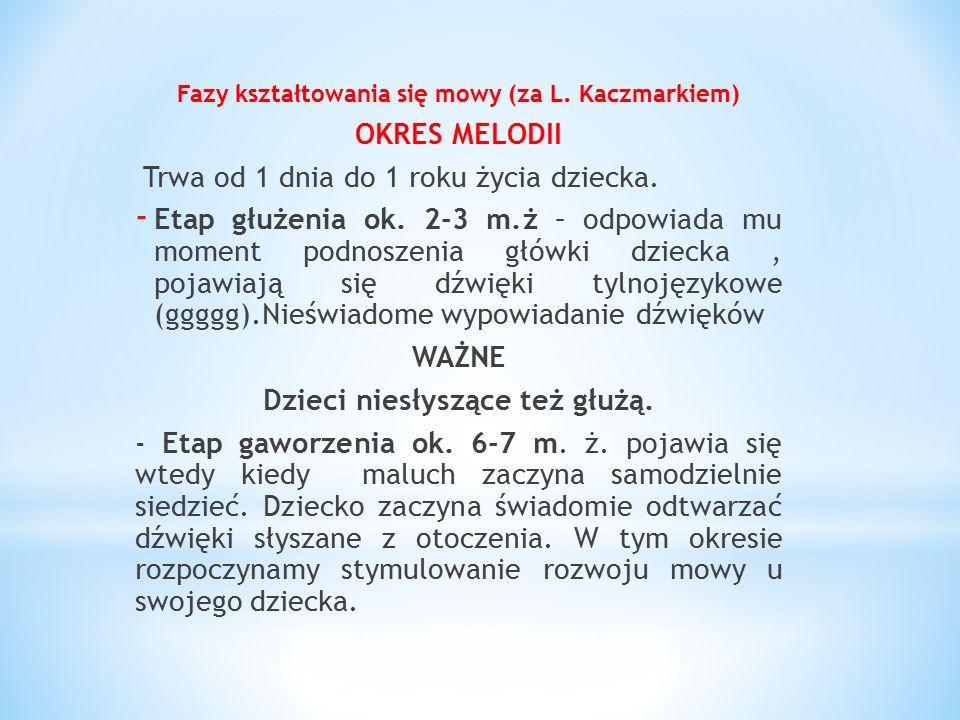 Fazy kształtowania się mowy (za L. Kaczmarkiem) OKRES MELODII Trwa od 1 dnia do 1 roku życia dziecka. - Etap głużenia ok. 2-3 m.ż – odpowiada mu momen