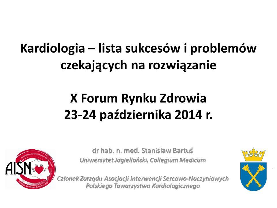 Kardiologia – lista sukcesów i problemów czekających na rozwiązanie X Forum Rynku Zdrowia 23-24 października 2014 r. dr hab. n. med. Stanislaw Bartuś