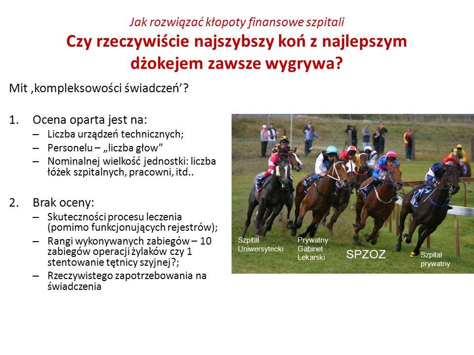 Jak rozwiązać kłopoty finansowe szpitali Czy rzeczywiście najszybszy koń z najlepszym dżokejem zawsze wygrywa? Mit 'kompleksowości świadczeń'? 1.Ocena