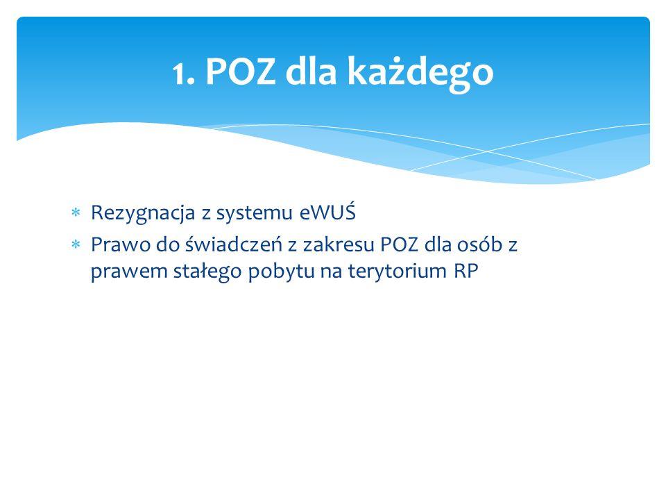  Rezygnacja z systemu eWUŚ  Prawo do świadczeń z zakresu POZ dla osób z prawem stałego pobytu na terytorium RP 1.
