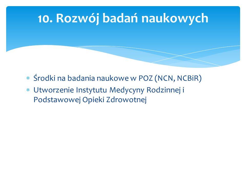  Środki na badania naukowe w POZ (NCN, NCBiR)  Utworzenie Instytutu Medycyny Rodzinnej i Podstawowej Opieki Zdrowotnej 10.