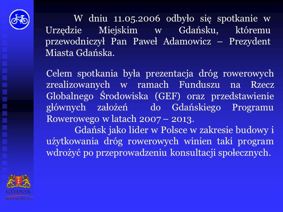 Wykaz zadań do realizacji w latach 2007-2013 na terenie Gminy Miasta Sopotu i Gminy Miasta Gdyni stanowią załączniki do właściwych uchwał: Rady Miasta Sopotu i Rady Miasta Gdyni w sprawie przyjęcia programu rozwoju komunikacji rowerowej odpowiednio na obszarze Sopotu i Gdyni w ramach projektu pn.
