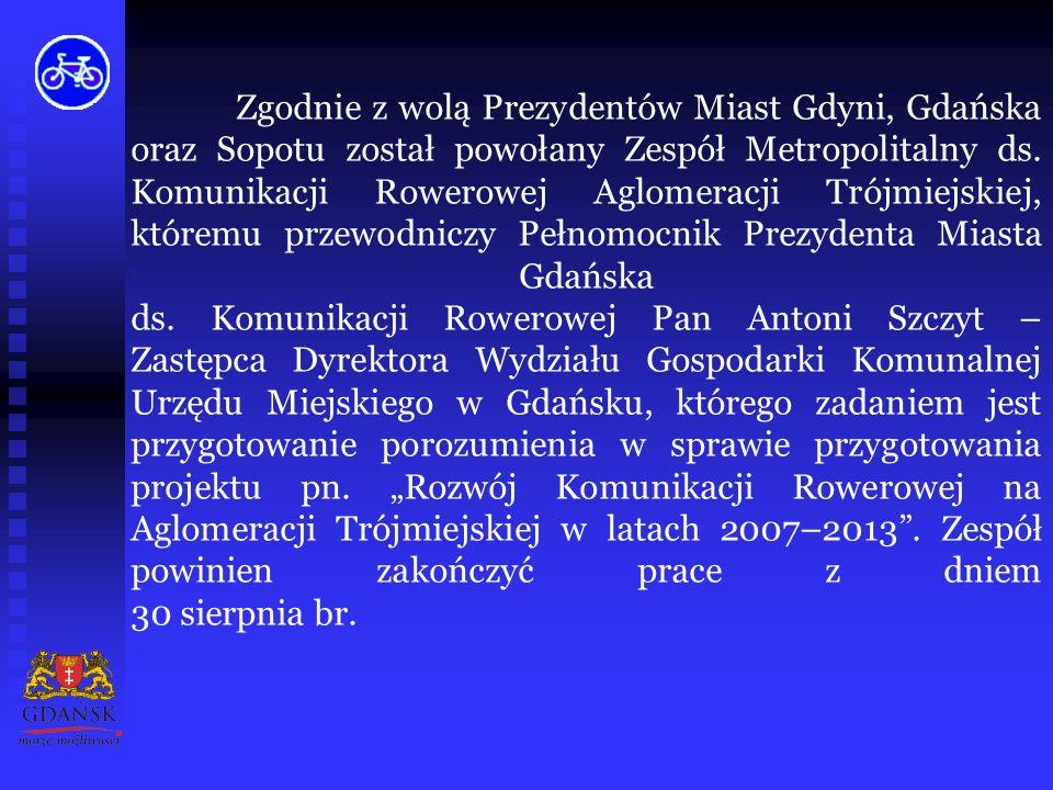 """W ubiegłym roku zakończono realizację """"Gdańskiego Rowerowego Projektu Inwestycyjno – Promocyjnego , dofinansowanego w latach 2003-2005 ze środków Funduszu na Rzecz Globalnego Środowiska (GEF), wdrażanego przez Program Rozwoju Narodów Zjednoczonych (UNDP)."""