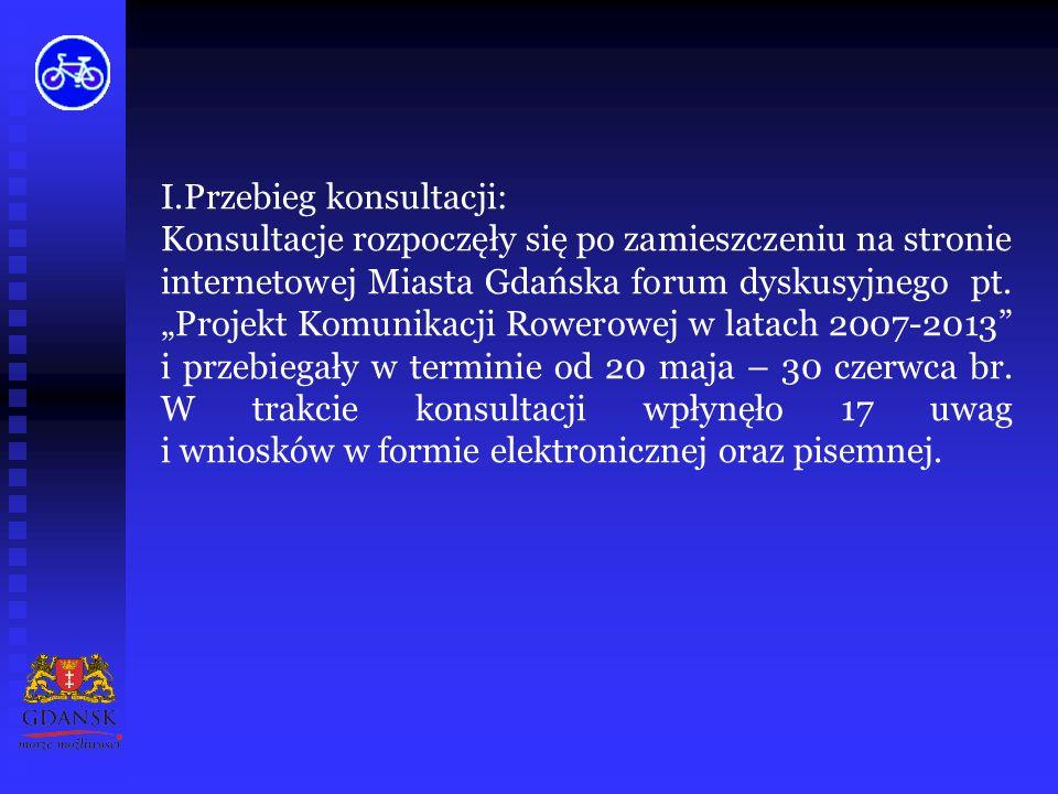 I.Przebieg konsultacji: Konsultacje rozpoczęły się po zamieszczeniu na stronie internetowej Miasta Gdańska forum dyskusyjnego pt.