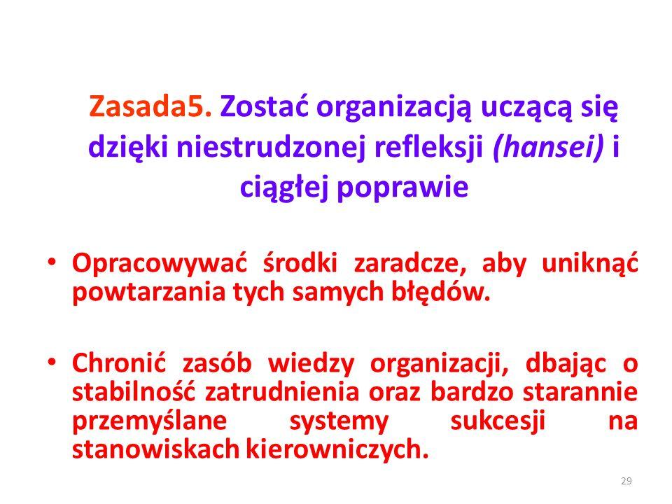 Zasada5. Zostać organizacją uczącą się dzięki niestrudzonej refleksji (hansei) i ciągłej poprawie Opracowywać środki zaradcze, aby uniknąć powtarzania
