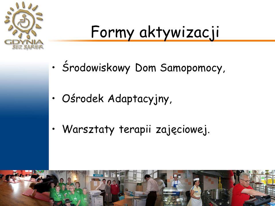 Formy aktywizacji Środowiskowy Dom Samopomocy, Ośrodek Adaptacyjny, Warsztaty terapii zajęciowej.