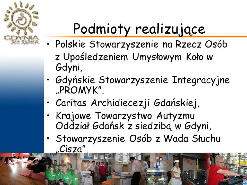 """Podmioty realizujące Polskie Stowarzyszenie na Rzecz Osób z Upośledzeniem Umysłowym Koło w Gdyni, Gdyńskie Stowarzyszenie Integracyjne """"PROMYK ."""