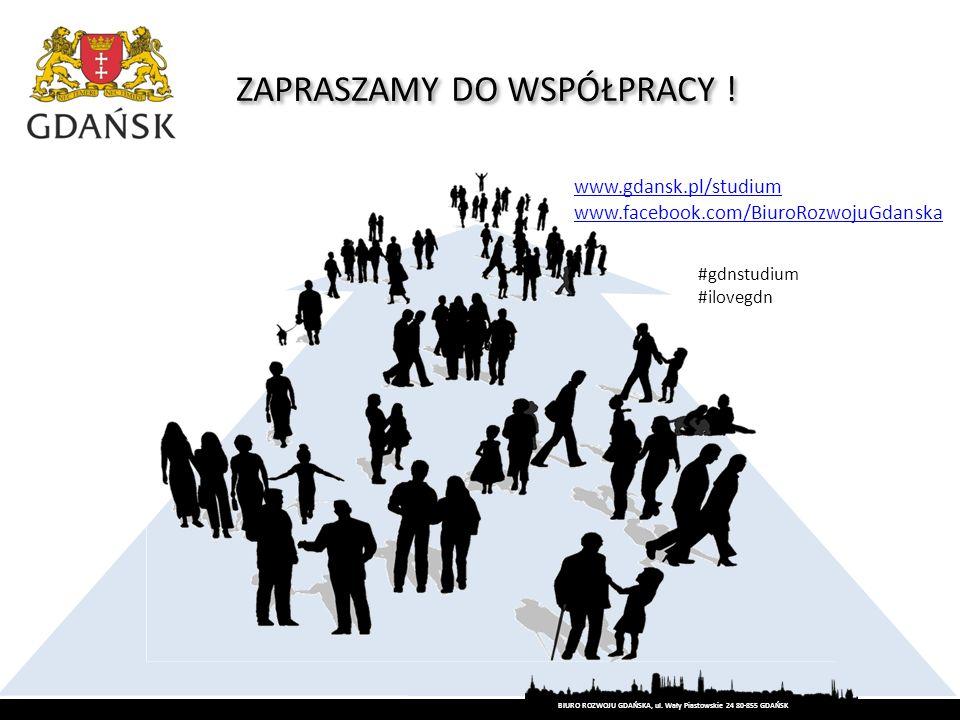 ZAPRASZAMY DO WSPÓŁPRACY ! www.gdansk.pl/studium www.facebook.com/BiuroRozwojuGdanska BIURO ROZWOJU GDAŃSKA, ul. Wały Piastowskie 24 80-855 GDAŃSK #gd