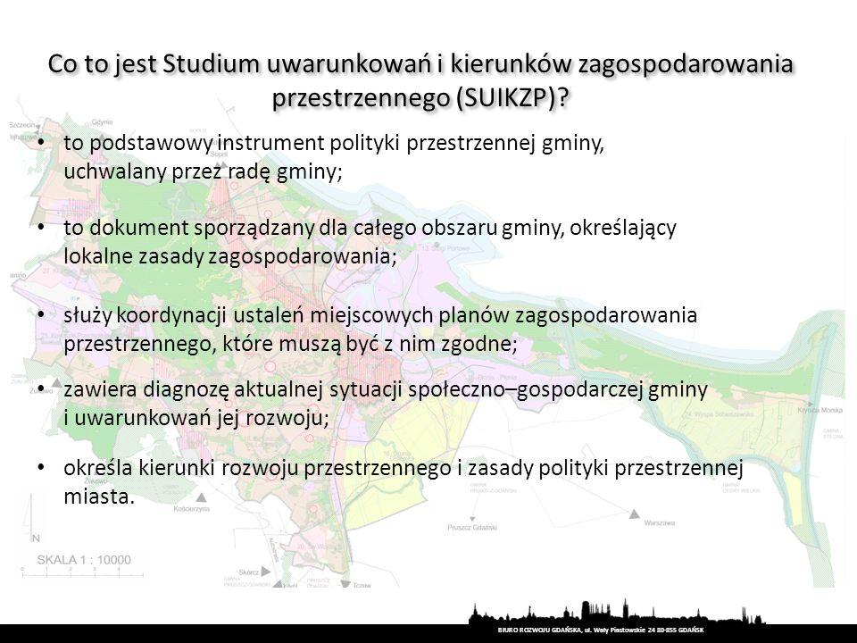 BIURO ROZWOJU GDAŃSKA, ul. Wały Piastowskie 24 80-855 GDAŃSK Co to jest Studium uwarunkowań i kierunków zagospodarowania przestrzennego (SUIKZP)? to p