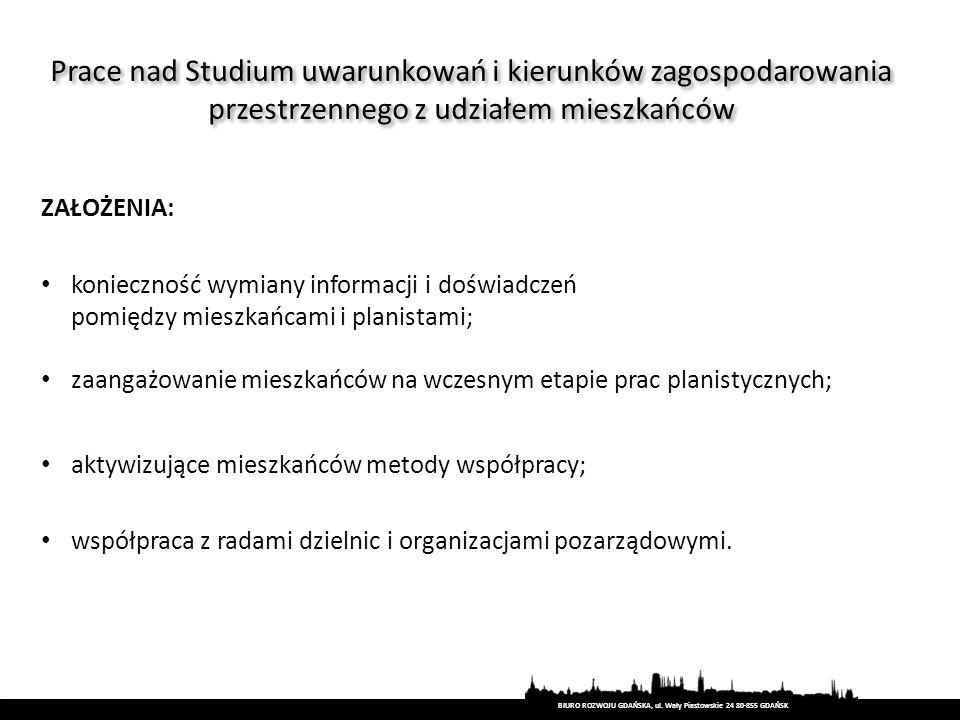BIURO ROZWOJU GDAŃSKA, ul. Wały Piastowskie 24 80-855 GDAŃSK ZAŁOŻENIA: konieczność wymiany informacji i doświadczeń pomiędzy mieszkańcami i planistam