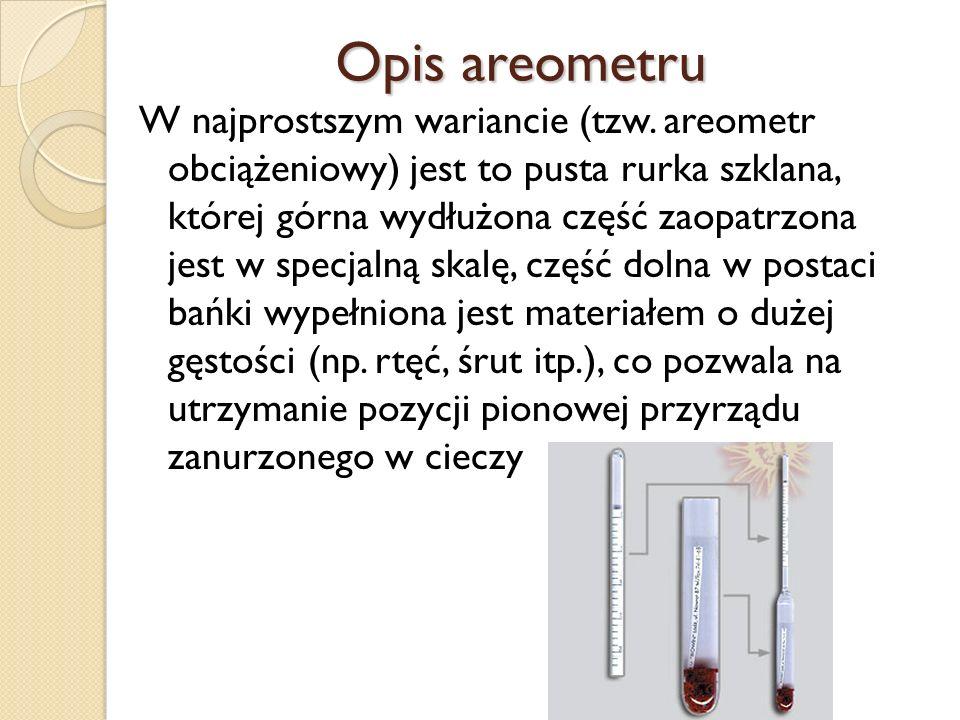 Opis areometru W najprostszym wariancie (tzw. areometr obciążeniowy) jest to pusta rurka szklana, której górna wydłużona część zaopatrzona jest w spec
