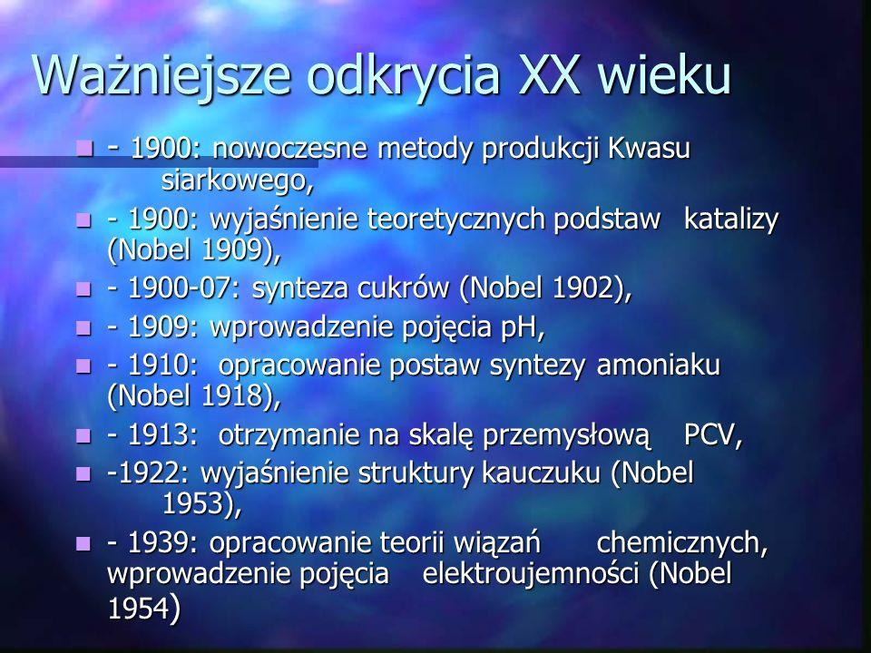 cd - Svant Arrhenius – rozwój chemii roztworów, - Svant Arrhenius – rozwój chemii roztworów, - Dymitr Mendelejew – odkrycie prawa okresowości jako prawa przyrody, klasyfikacja pierwiastków, - Dymitr Mendelejew – odkrycie prawa okresowości jako prawa przyrody, klasyfikacja pierwiastków, - wykazał, że procesy spalania to proces łączenia się z tlenem, - wykazał, że procesy spalania to proces łączenia się z tlenem, - Niels Bohr, Max Planck, Ernesrt Rutherford, Maria Curie-Skłodowska (badanie zjawiska promeniotwórczości i opisanie budowy atomu), - Niels Bohr, Max Planck, Ernesrt Rutherford, Maria Curie-Skłodowska (badanie zjawiska promeniotwórczości i opisanie budowy atomu),
