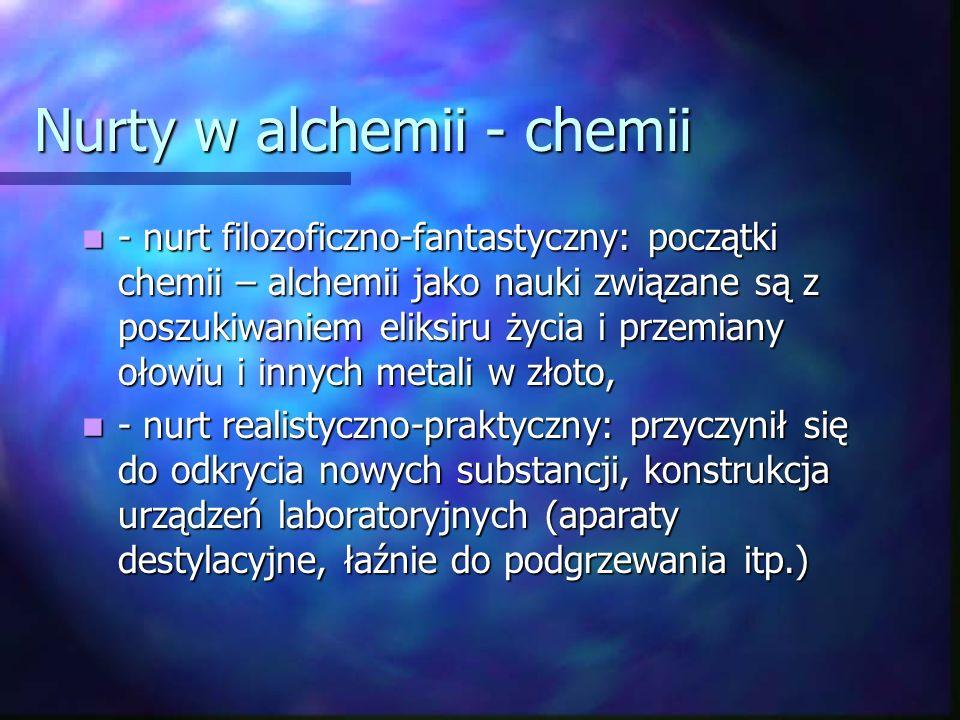 Nurty w alchemii - chemii - nurt filozoficzno-fantastyczny: początki chemii – alchemii jako nauki związane są z poszukiwaniem eliksiru życia i przemiany ołowiu i innych metali w złoto, - nurt filozoficzno-fantastyczny: początki chemii – alchemii jako nauki związane są z poszukiwaniem eliksiru życia i przemiany ołowiu i innych metali w złoto, - nurt realistyczno-praktyczny: przyczynił się do odkrycia nowych substancji, konstrukcja urządzeń laboratoryjnych (aparaty destylacyjne, łaźnie do podgrzewania itp.) - nurt realistyczno-praktyczny: przyczynił się do odkrycia nowych substancji, konstrukcja urządzeń laboratoryjnych (aparaty destylacyjne, łaźnie do podgrzewania itp.)