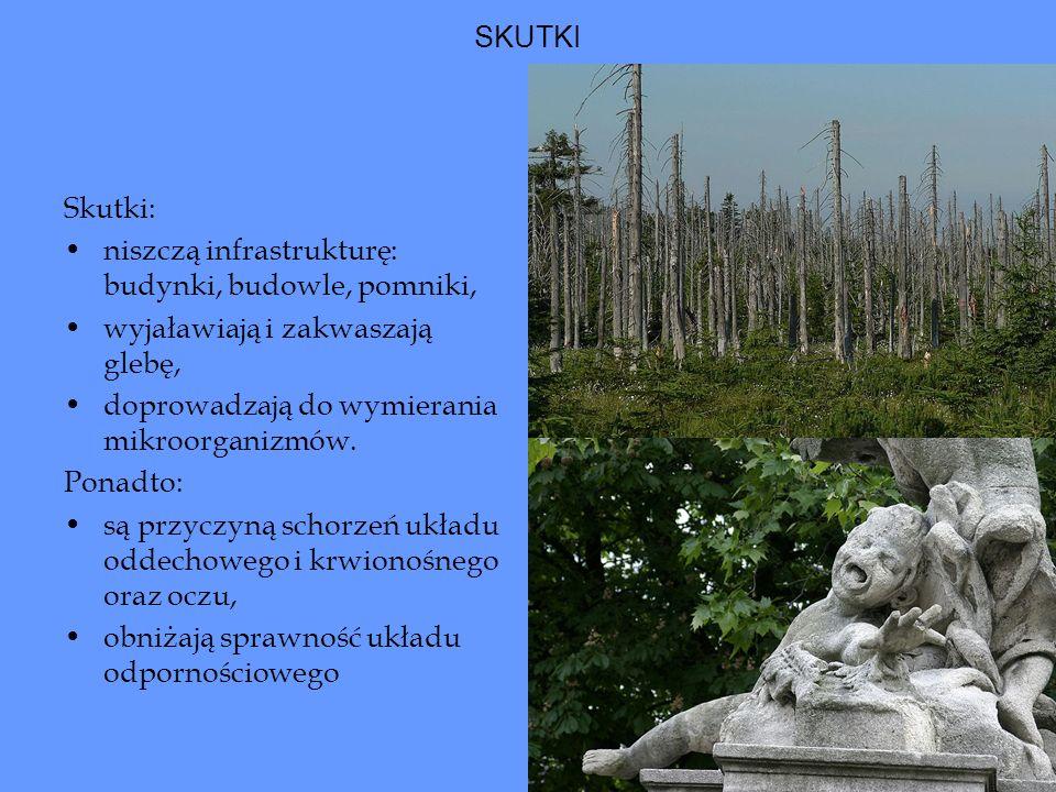 Kwaśne deszcze Źródłem kwaśnych deszczów, zagrażających zarówno lasom jak i zabytkom, jest zanieczyszczenie atmosfery.