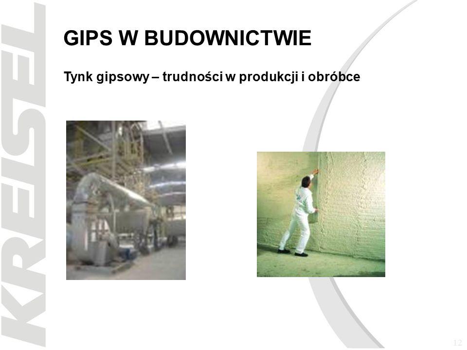 12 GIPS W BUDOWNICTWIE Tynk gipsowy – trudności w produkcji i obróbce