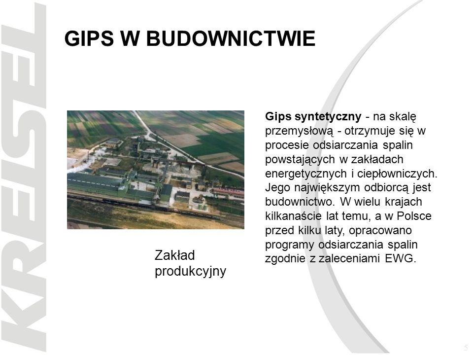 5 GIPS W BUDOWNICTWIE Gips syntetyczny - na skalę przemysłową - otrzymuje się w procesie odsiarczania spalin powstających w zakładach energetycznych i ciepłowniczych.