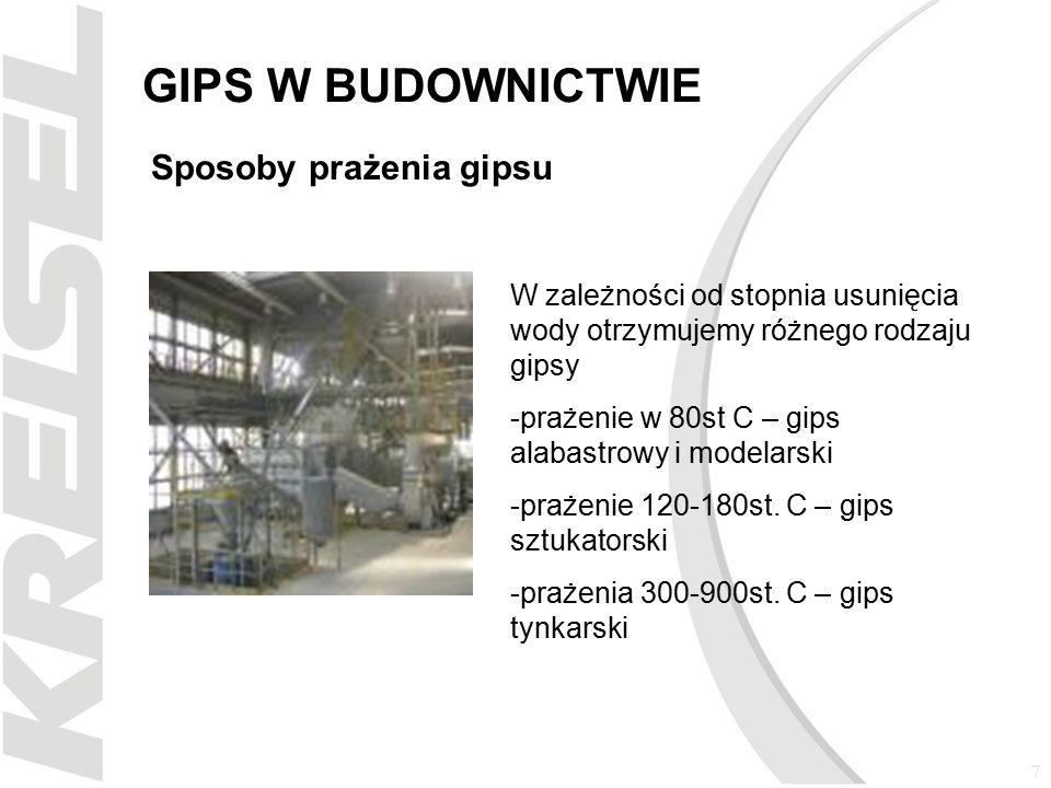 8 GIPS W BUDOWNICTWIE Sposoby wykorzystania gipsu budowlanego w budownictwie Gipsy tynkarskie, Gładzie gipsowe