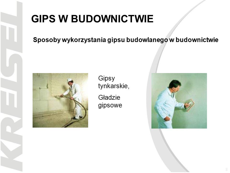 9 GIPS W BUDOWNICTWIE Sposoby wykorzystania gipsu budowlanego w budownictwie Płyty gipsowo-kartonowe Kleje gipsowe