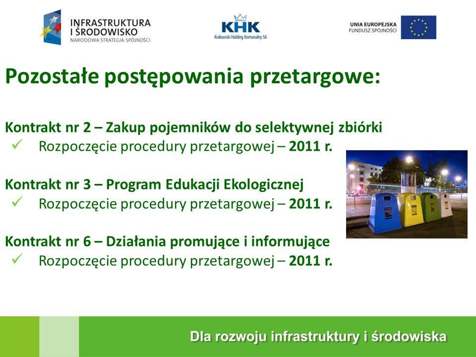 KRAKOWSKA EKOSPALARNIA Pozostałe postępowania przetargowe: Kontrakt nr 2 – Zakup pojemników do selektywnej zbiórki Rozpoczęcie procedury przetargowej – 2011 r.