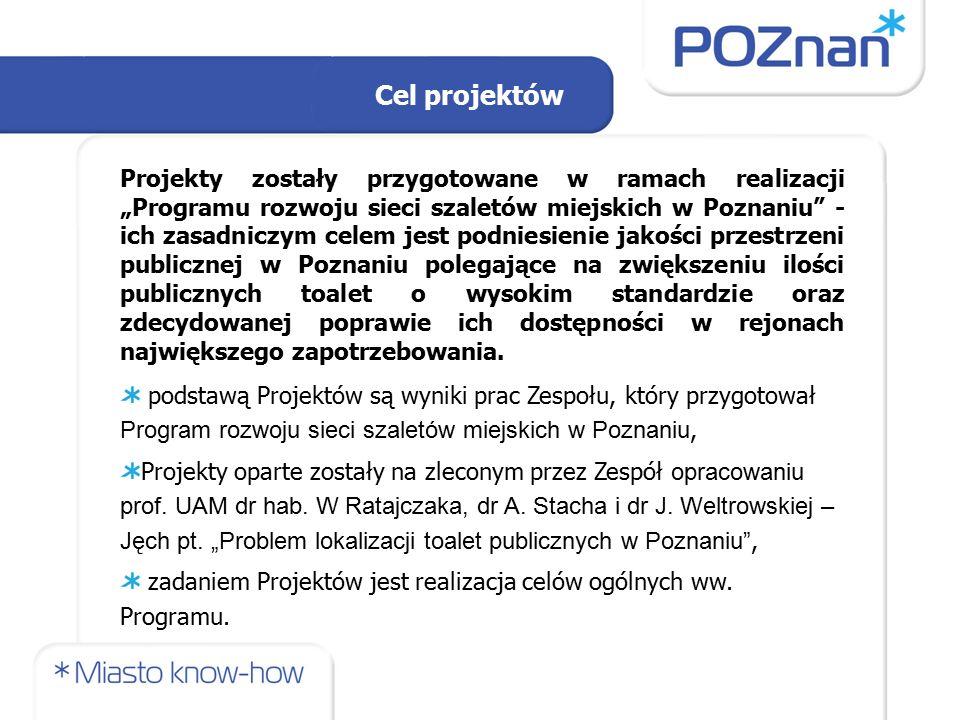 """Projekty zostały przygotowane w ramach realizacji """"Programu rozwoju sieci szaletów miejskich w Poznaniu - ich zasadniczym celem jest podniesienie jakości przestrzeni publicznej w Poznaniu polegające na zwiększeniu ilości publicznych toalet o wysokim standardzie oraz zdecydowanej poprawie ich dostępności w rejonach największego zapotrzebowania."""