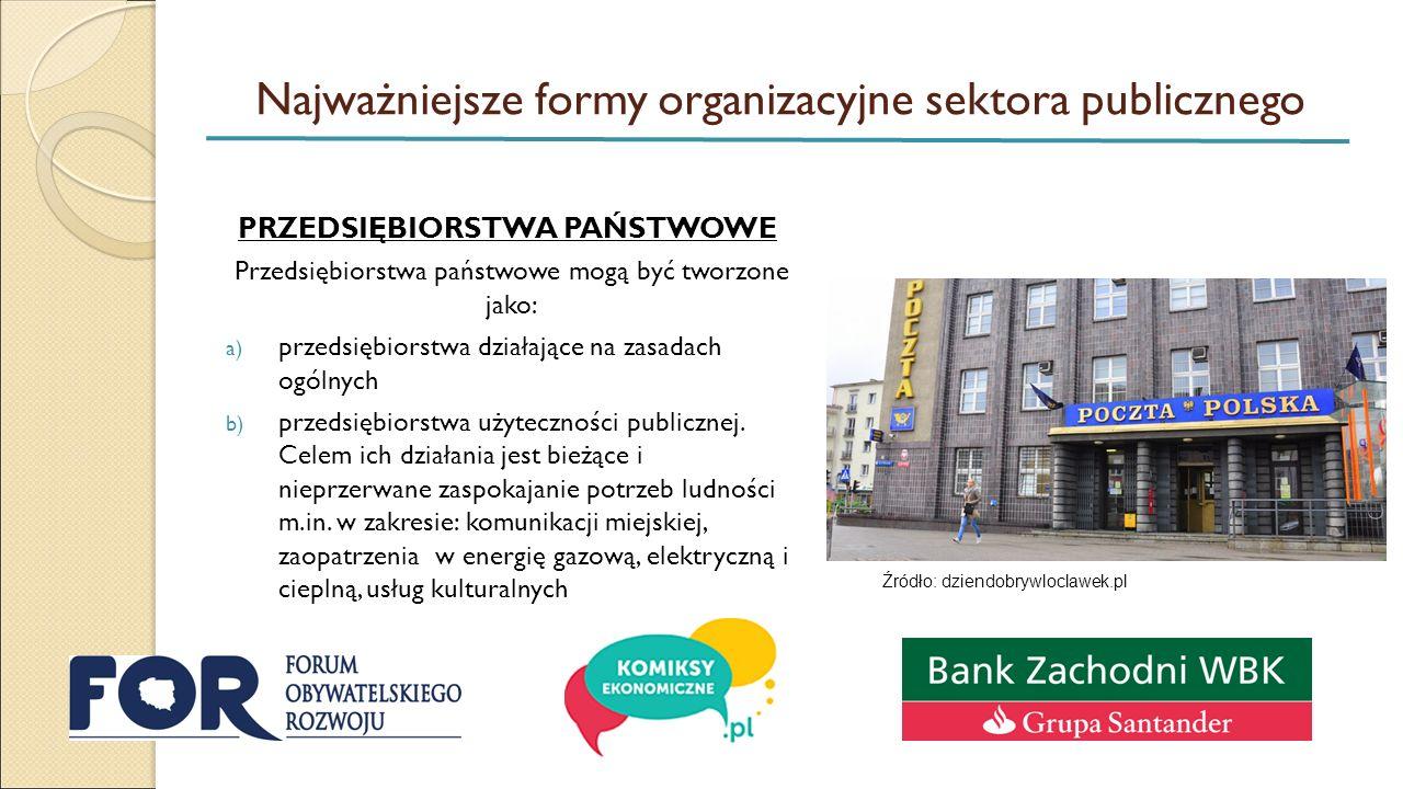 Najważniejsze formy organizacyjne sektora publicznego PRZEDSIĘBIORSTWA PAŃSTWOWE Przedsiębiorstwa państwowe mogą być tworzone jako: a) przedsiębiorstwa działające na zasadach ogólnych b) przedsiębiorstwa użyteczności publicznej.