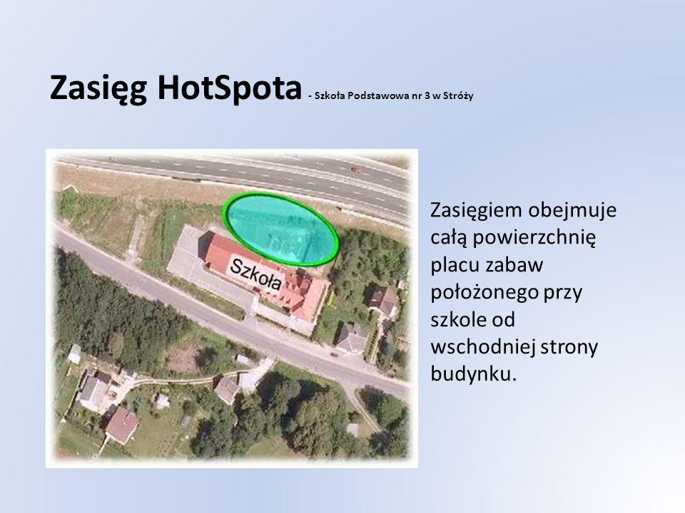 Zasięg HotSpota - Szkoła Podstawowa nr 3 w Stróży Zasięgiem obejmuje całą powierzchnię placu zabaw położonego przy szkole od wschodniej strony budynku.