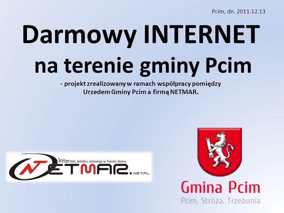 Darmowy INTERNET na terenie gminy Pcim - projekt zrealizowany w ramach współpracy pomiędzy Urzedem Gminy Pcim a firmą NETMAR.
