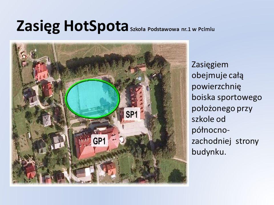 Zasięg HotSpota Szkoła Podstawowa nr.1 w Pcimiu Zasięgiem obejmuje całą powierzchnię boiska sportowego położonego przy szkole od północno- zachodniej strony budynku.