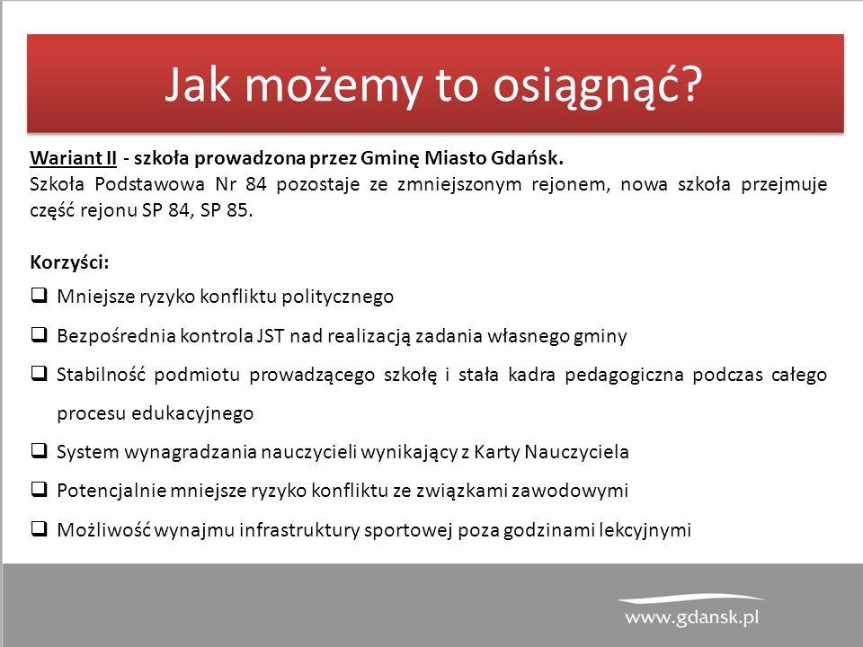 Jak możemy to osiągnąć. Wariant II - szkoła prowadzona przez Gminę Miasto Gdańsk.