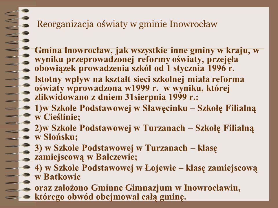 Gmina Inowrocław, jak wszystkie inne gminy w kraju, w wyniku przeprowadzonej reformy oświaty, przejęła obowiązek prowadzenia szkół od 1 stycznia 1996 r.