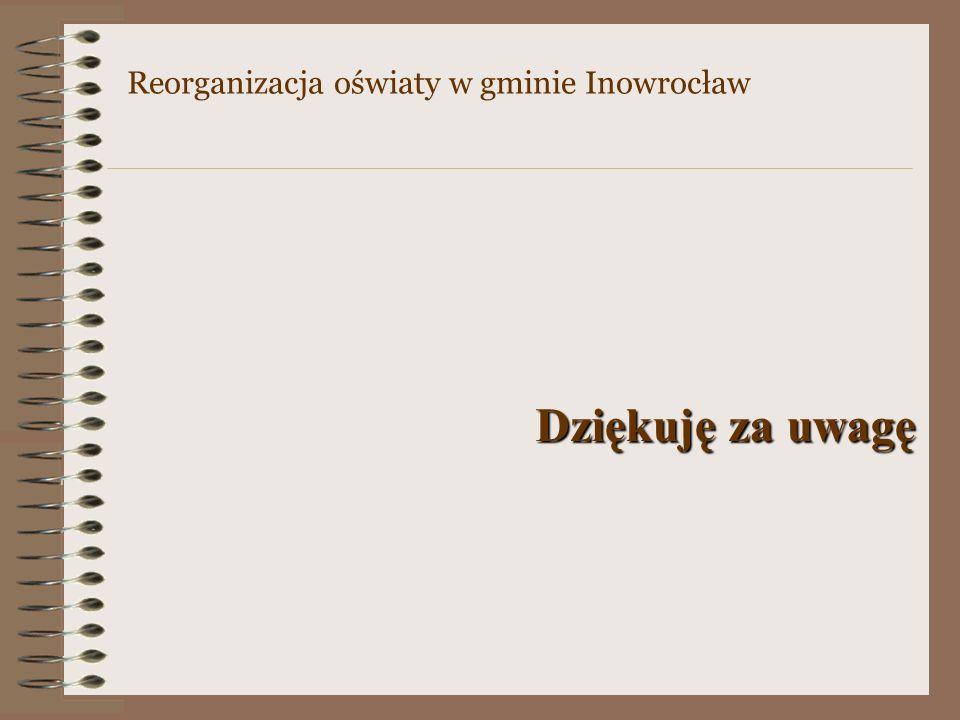 Dziękuję za uwagę Reorganizacja oświaty w gminie Inowrocław