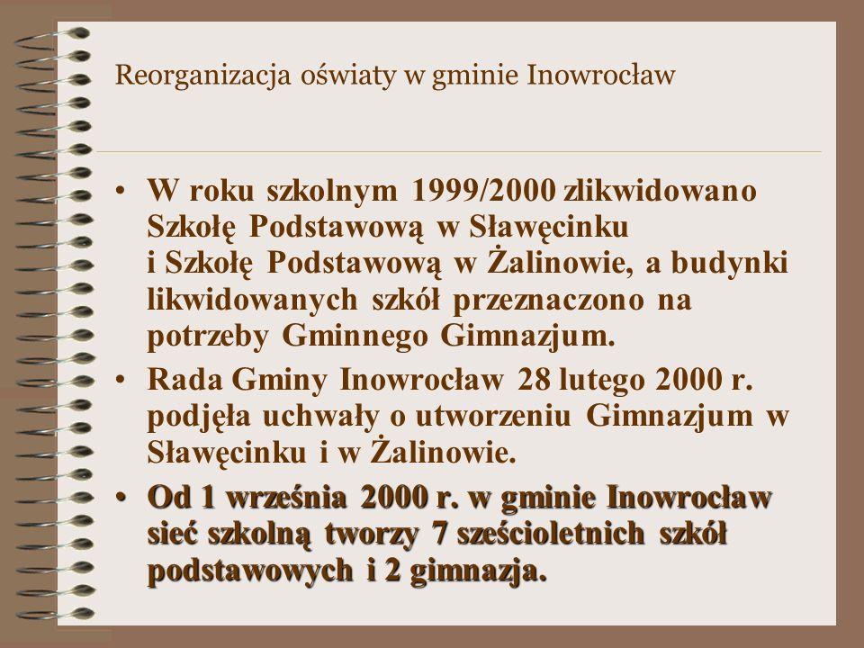 W roku szkolnym 1999/2000 zlikwidowano Szkołę Podstawową w Sławęcinku i Szkołę Podstawową w Żalinowie, a budynki likwidowanych szkół przeznaczono na potrzeby Gminnego Gimnazjum.