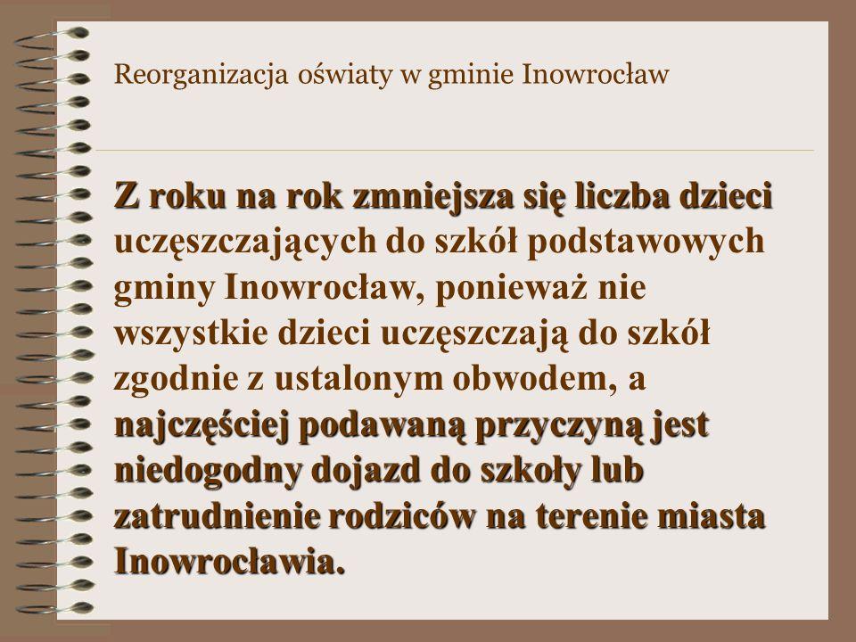 Z roku na rok zmniejsza się liczba dzieci najczęściej podawaną przyczyną jest niedogodny dojazd do szkoły lub zatrudnienie rodziców na terenie miasta Inowrocławia.