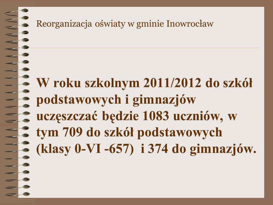 W roku szkolnym 2011/2012 do szkół podstawowych i gimnazjów uczęszczać będzie 1083 uczniów, w tym 709 do szkół podstawowych (klasy 0-VI -657) i 374 do
