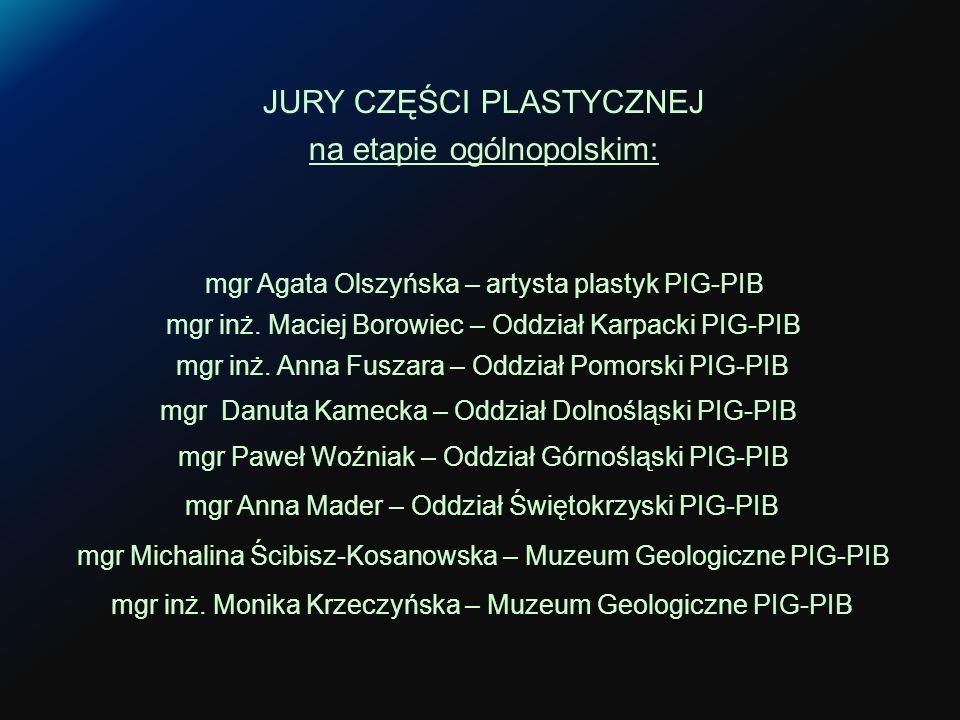 JURY CZĘŚCI PLASTYCZNEJ na etapie ogólnopolskim: mgr Paweł Woźniak – Oddział Górnośląski PIG-PIB mgr inż.