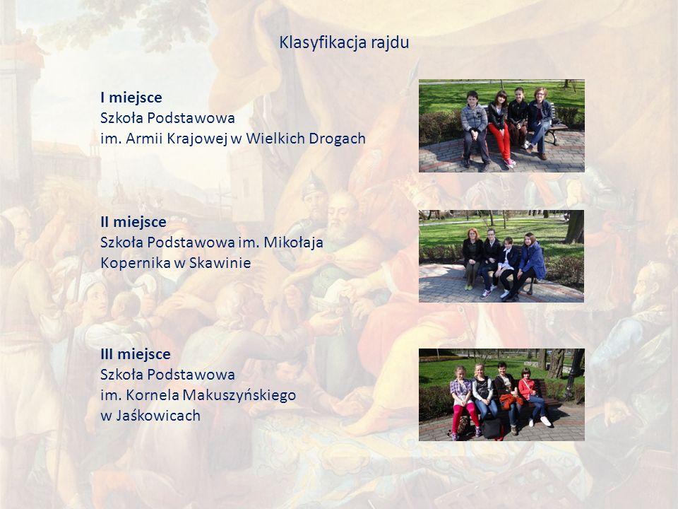 Klasyfikacja rajdu I miejsce Szkoła Podstawowa im.